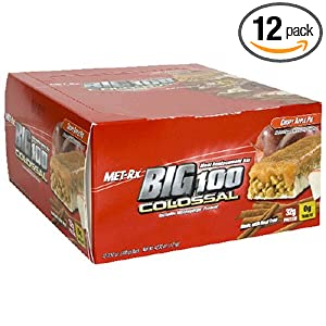 Best Deals Met-Rx Big 100 Colossal Meal Replacement Bar, Crispy Apple Pie, 12 Bars, 3.52 Ounces