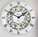 Shabby Chic Vintage French Style Wall Clock In Antique Cream - Perfect Country Kitchen Clock