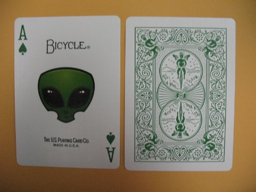 Bicycle Green Trace Playing Cards Alien Design - 1