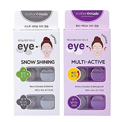 mothermade® Anti-Wrinkle & Dark Circle Removing Eye Mask - Snow Shining & Multi-Active Eye Capsule SET (6 patches x 2 pack, 12 use), Greatly Hydrate and Firm Your Eye Areas, and Remove the DarkCircles
