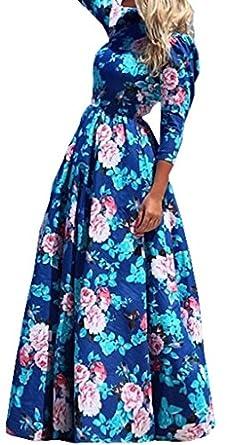 FsJoy Women's Summer Elegant Floral Slim Beach Casual Long Maxi Dress