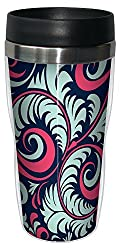Tree-Free Greetings 77600 Contemporary Teal and Pink Perfect Swirls Art Sip N Go Travel Tumbler 16-Ounce Multicolored