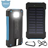 Solar Charger, Matone® Portable 10000mAh Solar Battery Charger Shockproof, Dual USB output Solar Powered Phone Charger for iPhone, iPod, iPad, Samsung, HTC, GPS & Gopro Camera (Blue)