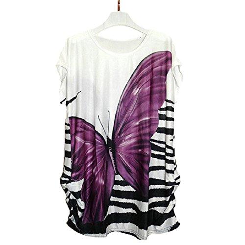 Doinshop Women Ice Cotton Short Sleeves Dress Butterfly Loose T-shirt Blouse Tops (purple)