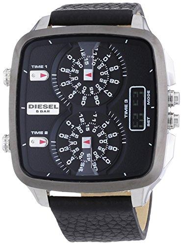 beseriet diesel dz7302 montre homme quartz analogique et digitale bracelet cuir noir. Black Bedroom Furniture Sets. Home Design Ideas