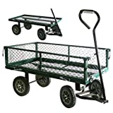 LARGE METAL 4 WHEEL GARDEN CART TROLLEY WITH DROP DOWN SIDES