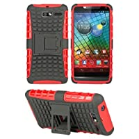 HHI Dual Armor Composite Case With Viewing Stand For Motorola Droid RAZR M - Red (Package Include A HandHelditems...
