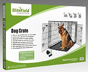 "EliteField 48"" 2-Door Folding Dog Crate with DIVIDER, 48"" long x 30"" wide x 32"" high by EliteField"