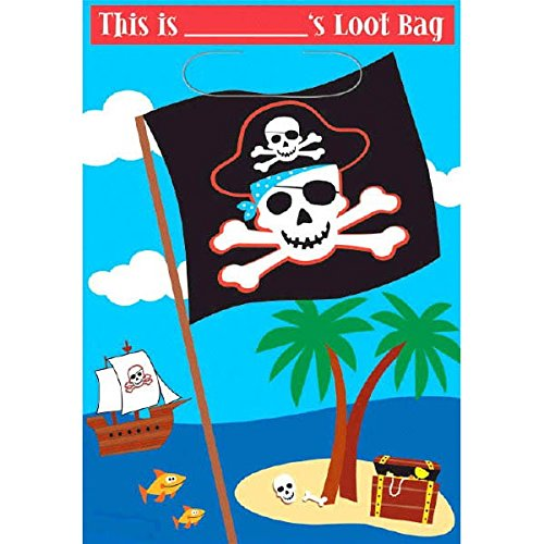 "Cute Pirate Birthday Party Loot Bags, 9 x 6-1/2"", Multi"