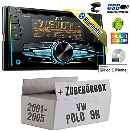 VW Polo 9N-JVC KW r920bt-2DIN Bluetooth USB Kit de montage autoradio -