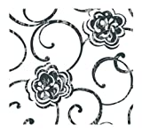 York Wallcoverings Tres Chic BL0308 Floral Burnout Scroll Wallpaper, White/Black
