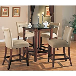 Soho Counter Height 5 Piece Dining Set In Cherry Finish With Roun