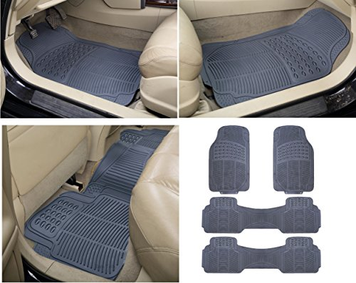 Zone Tech 4 Piece Gray Universal Fit Trim able Premium Quality Full Rubber-All Weather Heavy Duty Vehicle Floor Mats
