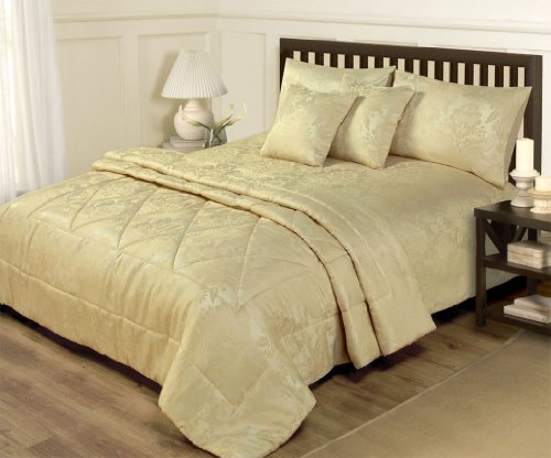 6 PIECE GOLD BEDDING - SUPER KING DUVET COVER & THROW BED SET