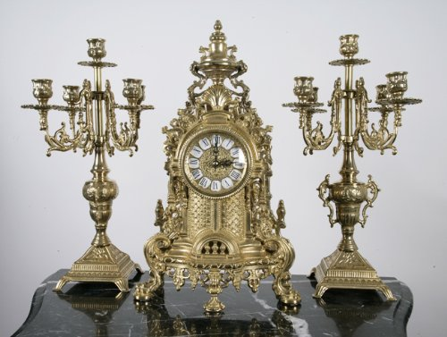 Italian Solid Brass Clock & Candelabra Mantel Set NEW! INCLUDES 1 CLOCK AND 2 CANDELABRAS CLOCK SIZE: H16