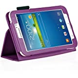 iZKA® - Samsung Galaxy TAB 3 7.0 - (Purple) Leather Case Cover and Flip Stand Typing Case Wallet Plus Free iZKA® Gift: ProPen Stylus Pen (Touch-Screen Pen) ~ Works With Tab 3 7.0 P3200 / P3210