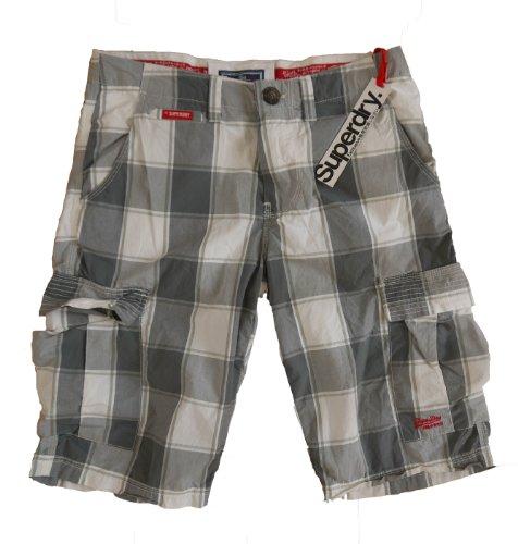 Superdry Mens Washbasket Short Cuffed Grey CheckShorts Size Medium