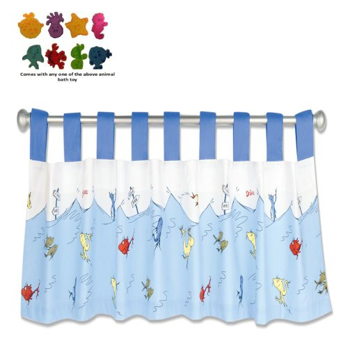 Trend Lab Infant Nursery Newborn Baby Room Decorative Dr. Seuss One Fish Two Fish Window Valance front-405576