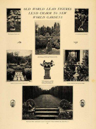 1925 Print Garden Statues Birdbaths Landscape Decor - Original Halftone Print