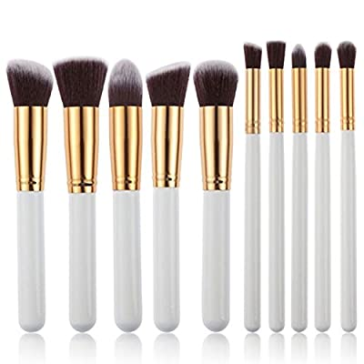 Elisona-5 Pcs Professional Wood Handle Wool-like Hair Round Head Face Makeup Cosmetic Brush Set Gold Black