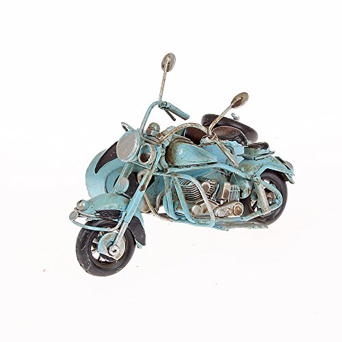Metal Model Small Motorcycle with Sidecar Approx. 11cm x 9cm x 7cm blue