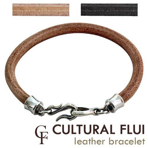 CULTURAL FLUI(カルトラルフルイ) シングルレザーブレスレット≪ブラック/Sサイズ≫シルバーアクセサリーブランド メンズ
