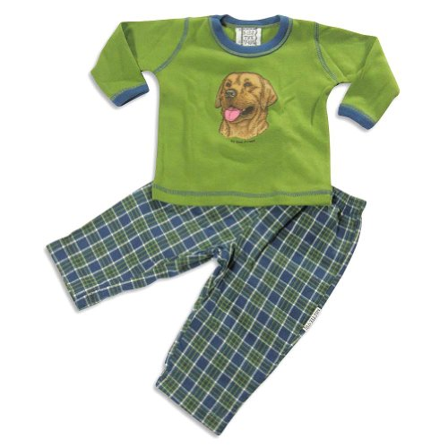 Mis Tee V-Us - Baby Boys 2 Piece Long Sleeve Dog Pant Set, Green, Navy 22209-24Months front-478967