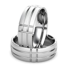 buy Argentium Silver Men'S Wedding Band Featuring Simple Geometric Square And Rectangle Pattern With Brushed Center Finish. Argentium'S 960 Grade Set New Purity Standards For Silver. Argentium Is Always Purer Than Traditional Sterling Silver. Argentium Silver