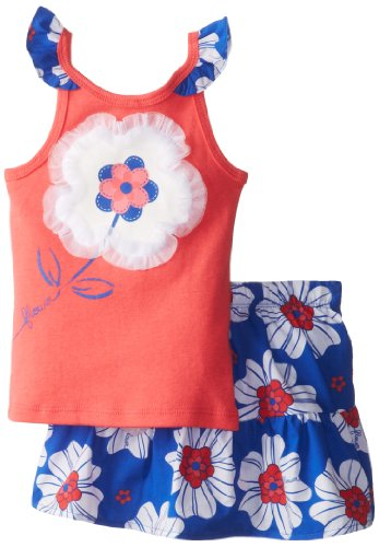 Watch Me Grow! By Sesame Street Little Girls' 2 Piece Flower Print Skirt Set, Orange, 2T front-160354
