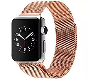 Apple Watch Band, with Unique Magnet Lock,Steel Bracelet Strap Band for Apple Watch Apple Watch & Sport & Edition No Buckle Needed (38mm Rose Gold)