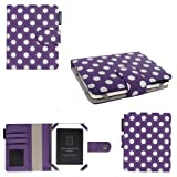 Aquarius 5 inch Premium Polka Dot Bicast Leather Case for Kobo Mini eReader - Purple
