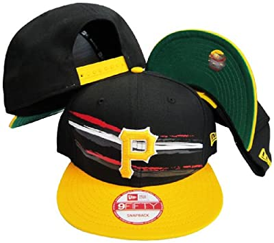 Pittsburgh Pirates Black/Yellow Two Tone Plastic Snapback Adjustable Plastic Snap Back Hat / Cap