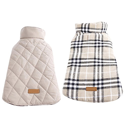 Kuoser Cozy Waterproof Windproof Reversible British style Plaid Dog Vest Winter Coat Warm Dog Apparel for Cold Weather Dog Jacket for Small Medium Large dogs with Furry Collar (XS - 3XL ),Beige 3XL (British Plaid Coat compare prices)