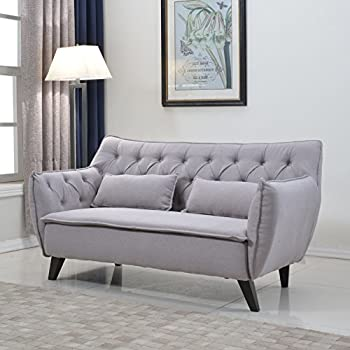 Divano Roma Furniture Mid Century Linen Fabric Loveseat, Light Grey