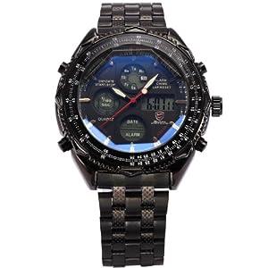 Luxury Mens Shark Dual Time Black Digital LCD Stopwatch Quartz Sport Army Watch SH116