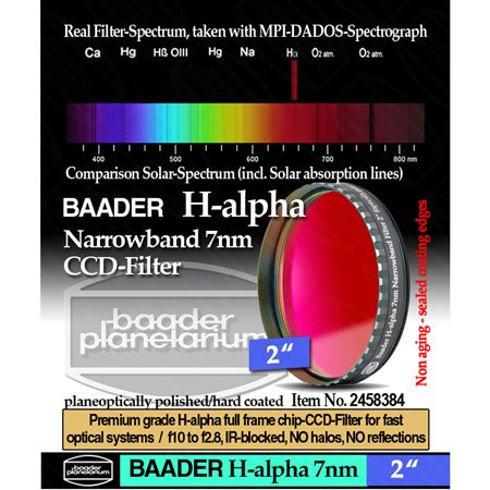 "Baader Planetarium Narrowband H-Alpha (7Nm) Ccd Filter - 2"" Fhaln-2"
