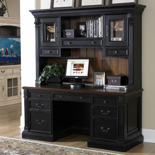 Riverside Weybridge Credenza Computer Desk with Hutch - Cherry/Black