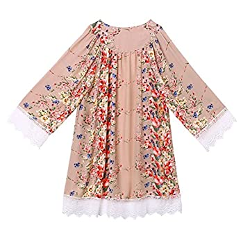 Froomer Women Vintage Floral Boho Shawl Kimono Cardigan Loose Chiffon Blouse