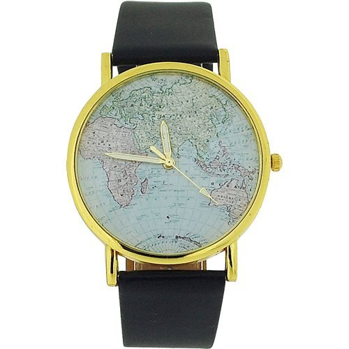 The Olivia Collection Unisex Analogue World Map Dial Black Pu Strap Watch Toc112