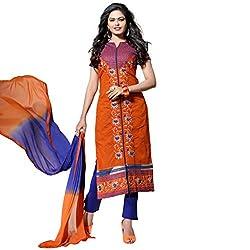 Pari Presents Orange Coloured Dress Material