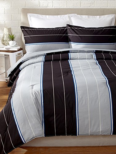 Nautica Danbury Comforter Set, Full/Queen, Black Stripe front-1016988
