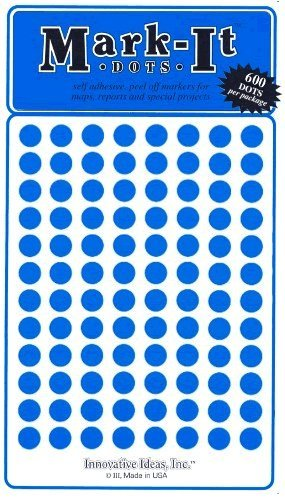 """Map Dot Stickers - 1/4"""" Diameter - Blue"""
