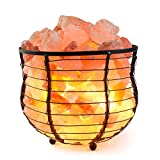 "HemingWeigh Salt Lamp Natural Himalayan Metal Basket Bowl Lamp 8x7.15"" with Salt Chips, Electric Wire and Bulb Included"