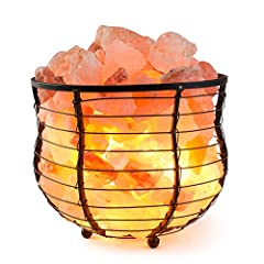 "Himalion Natural Air Purifying Himalayan Salt Metal Basket Bowl Lamp 8x7.15"" with Salt Chips, & Electric Bulb (Black Color)"