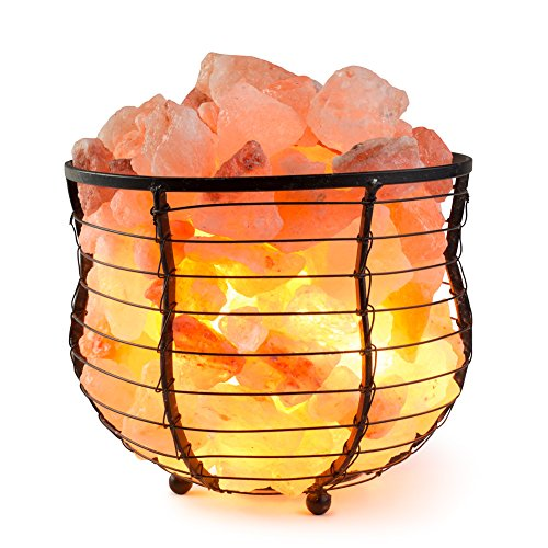 HemingWeigh Salt Lamp Natural Himalayan Metal Basket Bowl Lamp 8x7.15