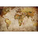 World Map Photo Wallpaper - Vintage Retro Motif - Xxl World Map Mural - Wall Decoration