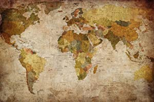 World Map Photo Wallpaper - Vintage Retro Motif - Xxl World Map Mural