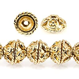 4x8x8mm 22kt Gold Plated Copper Bead Cap