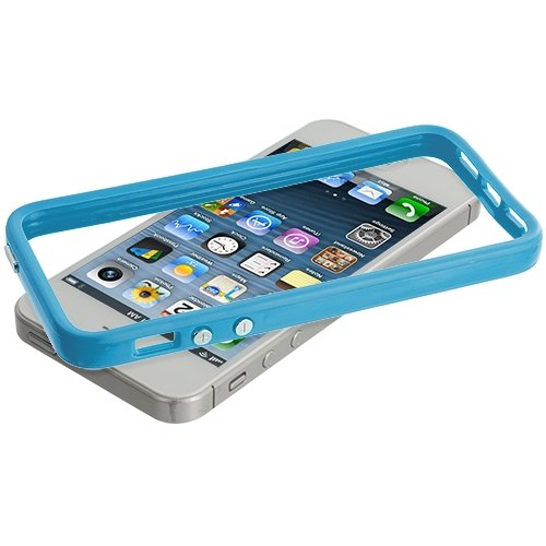 Cell Accessories For Less (Tm) Solid Baby Blue Tpu Bumper With Metal Buttons For Apple Iphone 5 / 5S + Bundle (Stylus & Micro Cleaning Cloth) - By Thetargetbuys front-678378