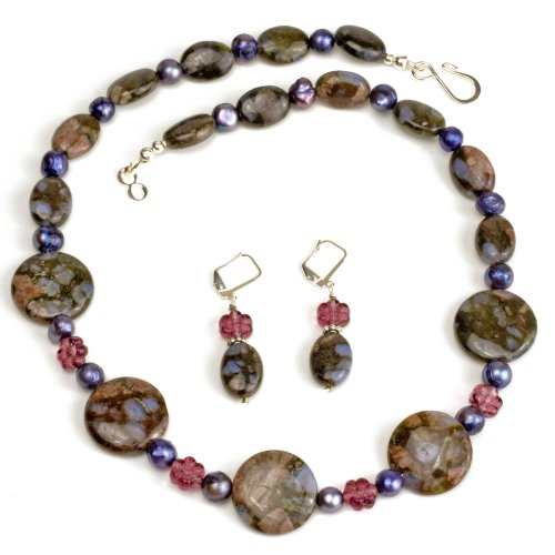 Handmade Blue Riolite Necklace with Earrings